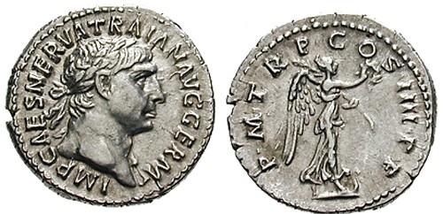 Denier de Trajan frappé en 101 ou 102. A/ IMP CAES NERVA TRAIAN AVG GERM. Buste lauré tourné à droite. R/ PM TR P COS IIII PP. Victoire à demi-nue debout à de face, regardant à gauche, tenant une couronne et une palme. [Cohen n°240] Photo © CNG