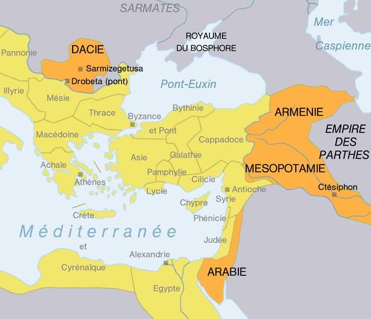 Carte : Les conquêtes de Trajan.