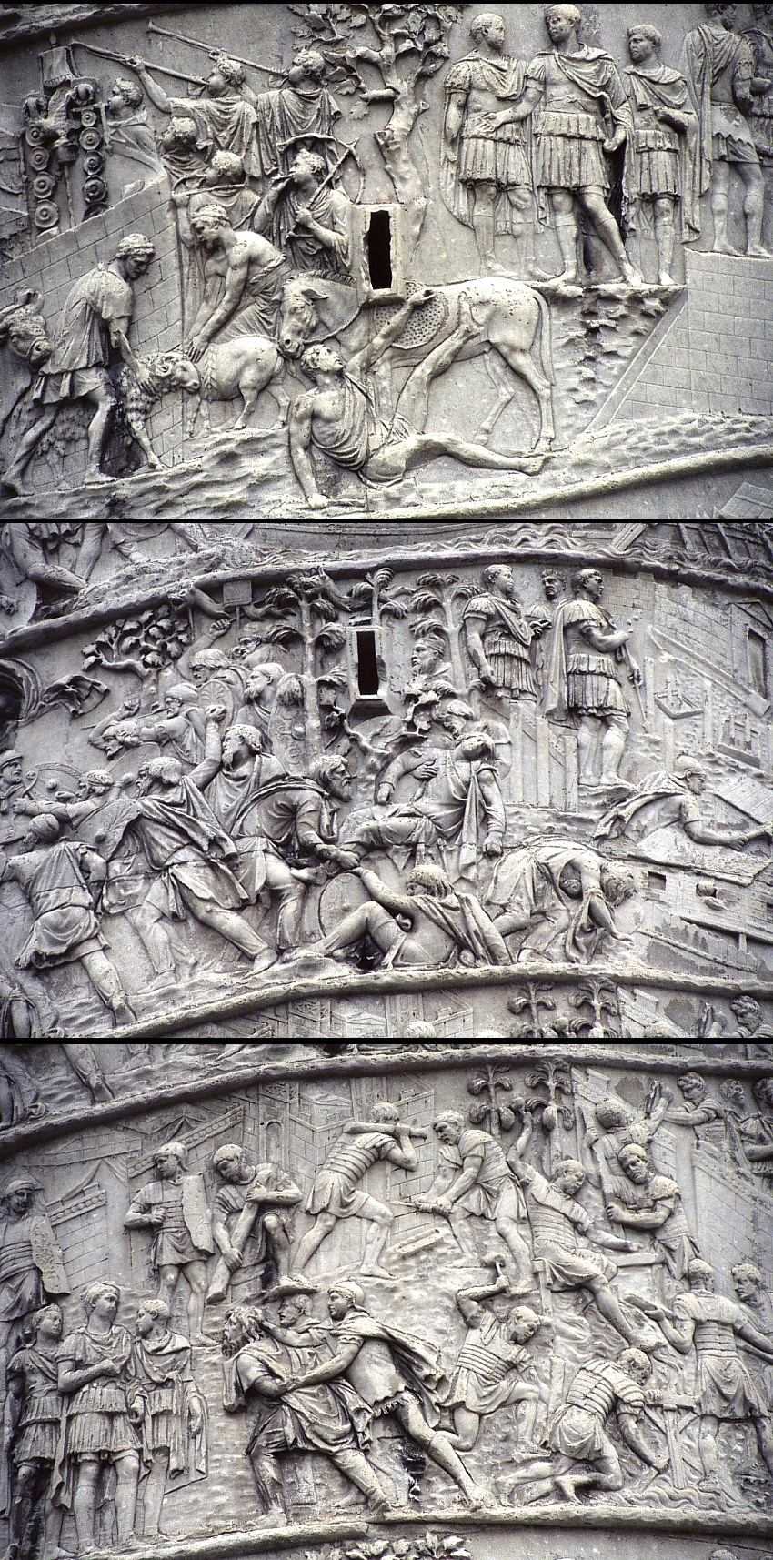 Colonne Trajane, détails. Les bas-reliefs, disposés en spirale, représentent plus de 2500 figures, et retracent les principaux évènements des guerres daciques. Trajan y  très fréquemment représenté. Photos © Kalermo Koskimies