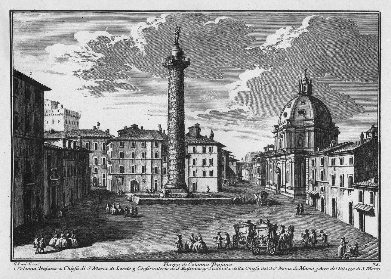 La place de la Colonne Trajane, gravure de Guisueppe Vasi, milieu du XVIII° siècle. Photo © Kalermo Koskimies