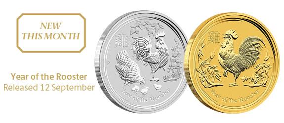 Photo des nouvelles pièces d'investissement d'or et d'argent d'Australie Année du Coq 2017