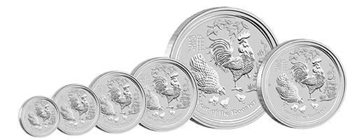 Pièces d'argent de l'année du Coq en différentes tailles