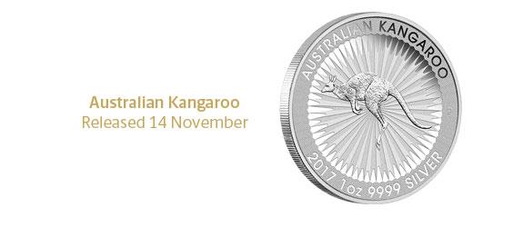 Photo des nouvelles pièces d'argent d'investissement au kangourou d'Australie 2017