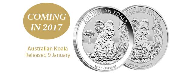 Photo des nouvelles pièces d'argent d'investissement au koala d'Australie 2017