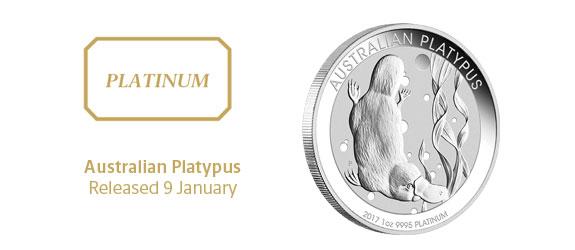 Photo des nouvelles pièces d'investissement en platine au platypus d'Australie 2017