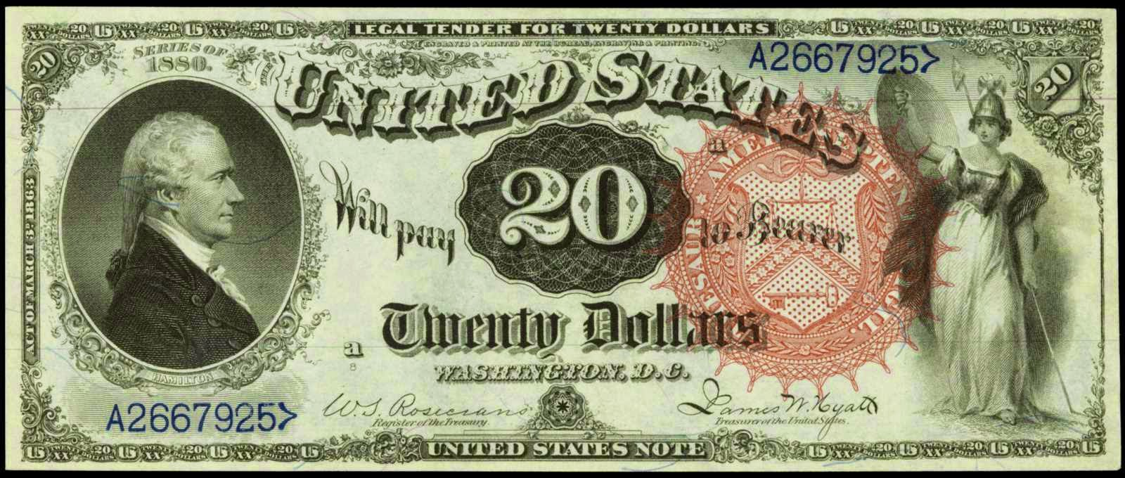 Billet de banque de 20 dollars US portant la mention Legal tender