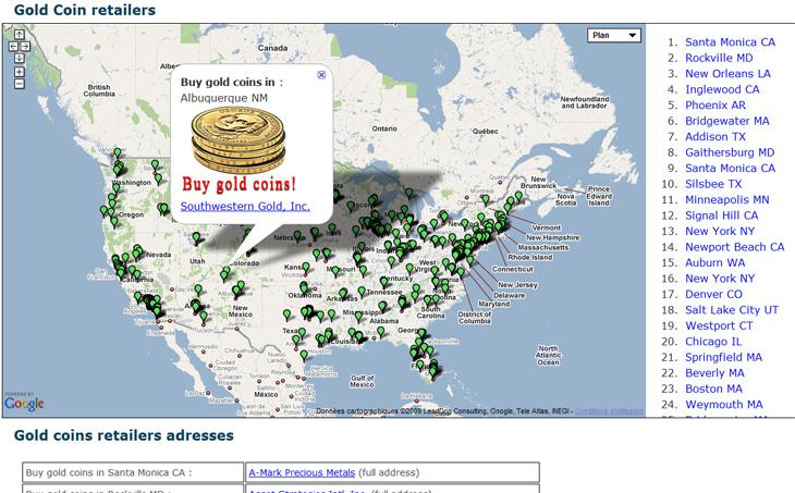 Capture d'écran du site Buygoldcoins
