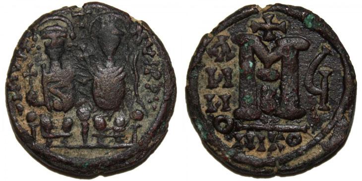 Exemple de 40 nummi issue de la réforme monétaire d'Anastase