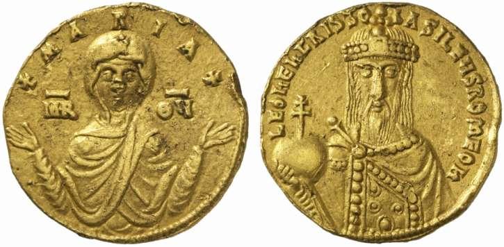 Exemple de monnaie byzantine : solidus de Léon VI (886-912 après JC)