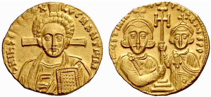 Solidus de Justinien II : à l'avers le Christ, au revers l'Empereur