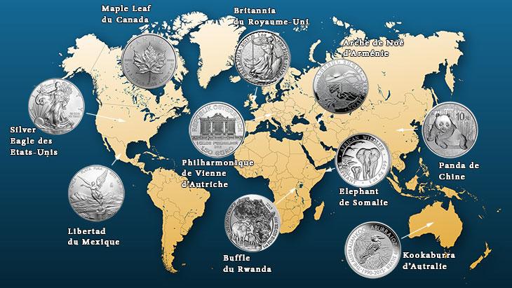 Carte des pièces d'argent d'une once dans le monde