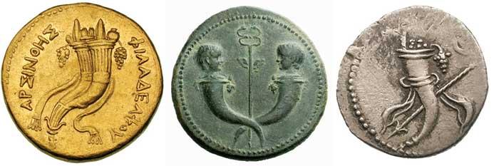 Exemples de cornes d'abondance sur des monnaies grecques et romaines
