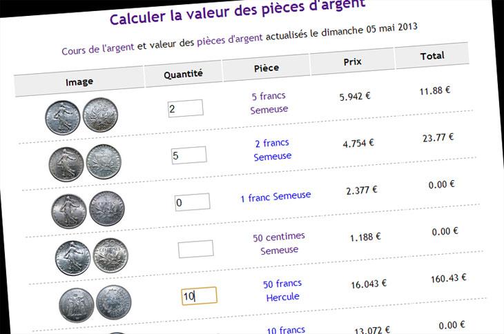 Capture d'écran du calculateur de valeur des pièces d'argent