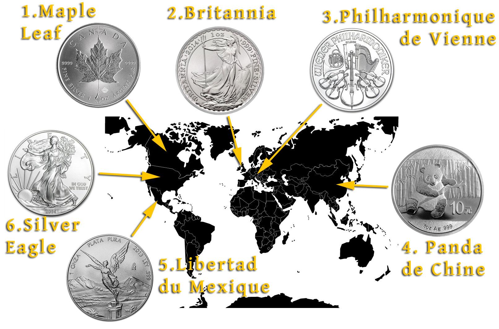 Quelques pièces d'argent du monde entier