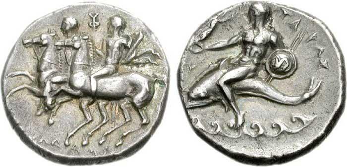Image de dauphin sur une monnaie grecque de Tarente