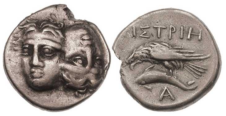 Image de Dauphin sur une monnaie grecque d'Istros