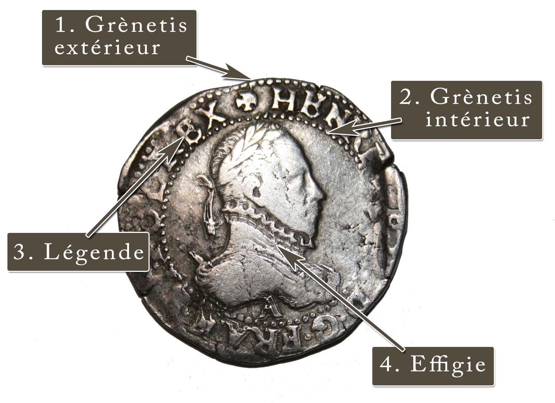 Teston d'Henri III (1574-1589). Le graveur commençait pas dessiner le grènetis extérieur, puis le grènetis intérieur avant de graver les lettres puis l'effigie du roi