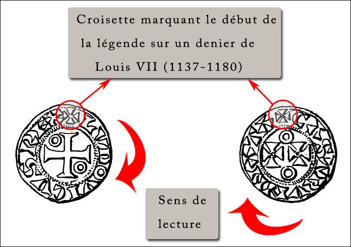 Illustration : la croisette sur une monnaie royale