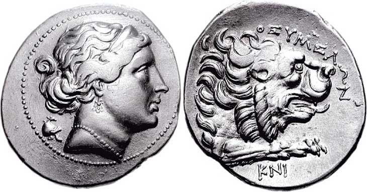 Aphrodite sur une monnaie grecque de Cnide