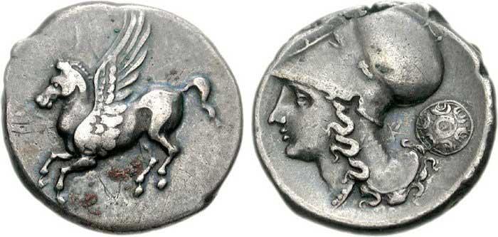 Athéna sur une monnaie grecque d'Akarnania