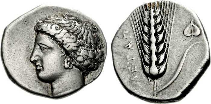 Déméter sur une monnaie grecque de Métaponte