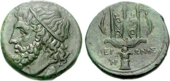Poséidon sur une monnaie grecque de Syracuse
