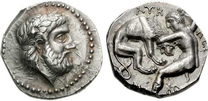 Zeus sur une monnaie grecque de Péonie