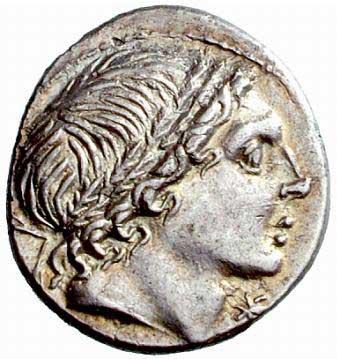 Portrait d'Apollon sur un denier romain