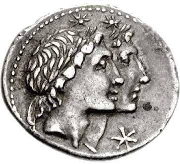 Les Dioscures sur un denier romain