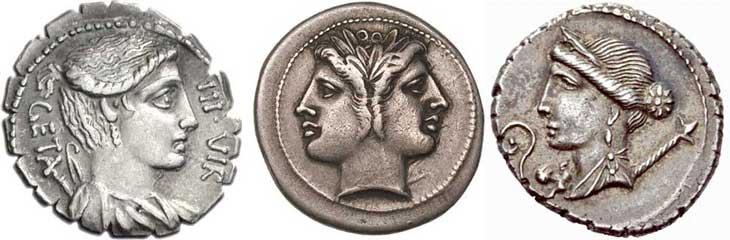 Exemples de dieux, déesses et divinités sur les monnaies romaines