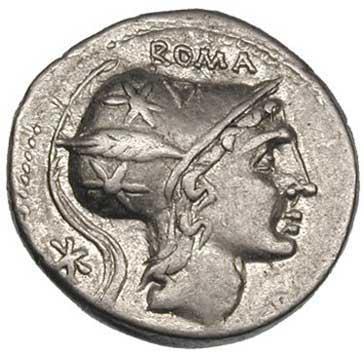 Rome sur un denier romain