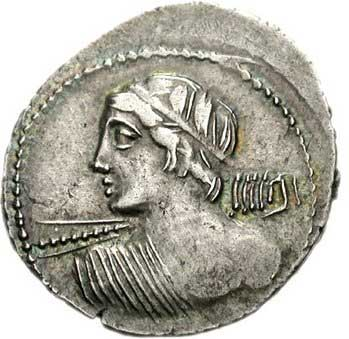 Apollon Vengeur sur un denier romain
