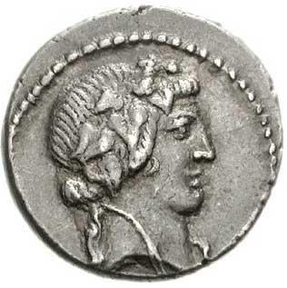 Bacchus sur un denier romain