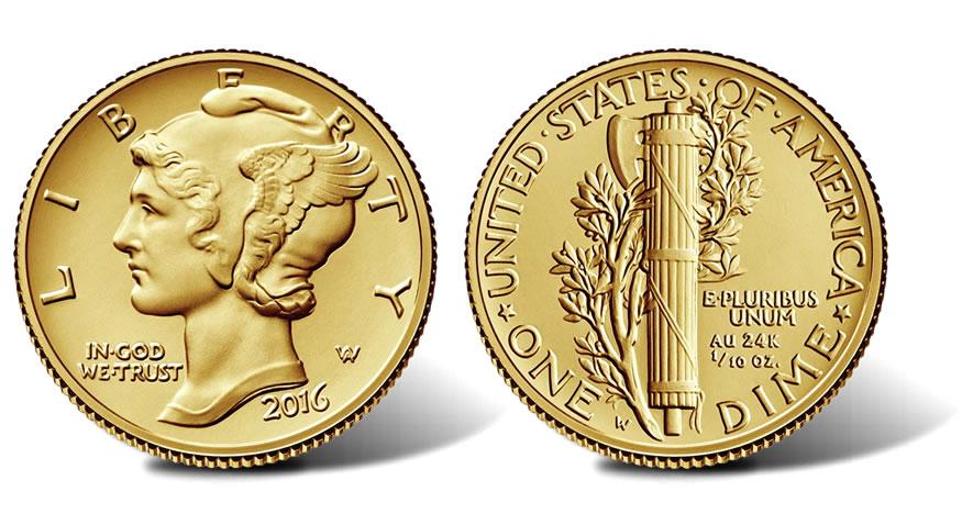 Photo de la nouvelle pièce d'or commémorative Mercury dime 2016