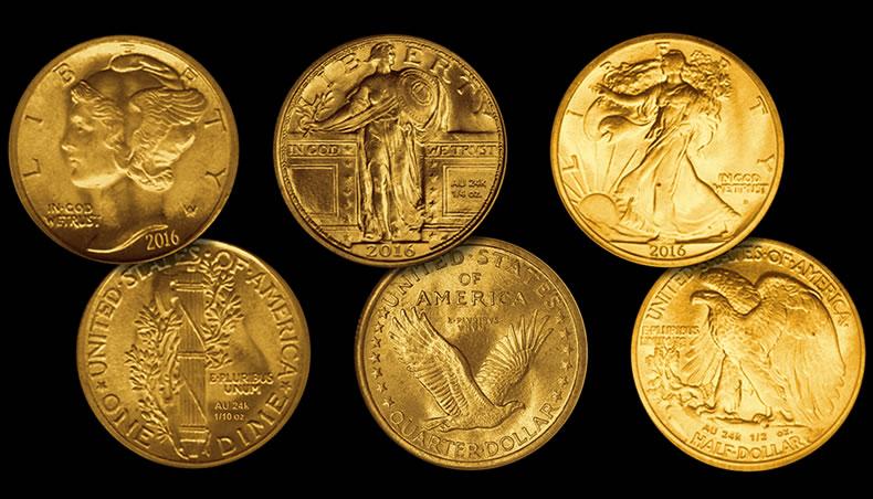 Photo des 3 nouvelles pièces d'or commémoratives américaine 1916-2016