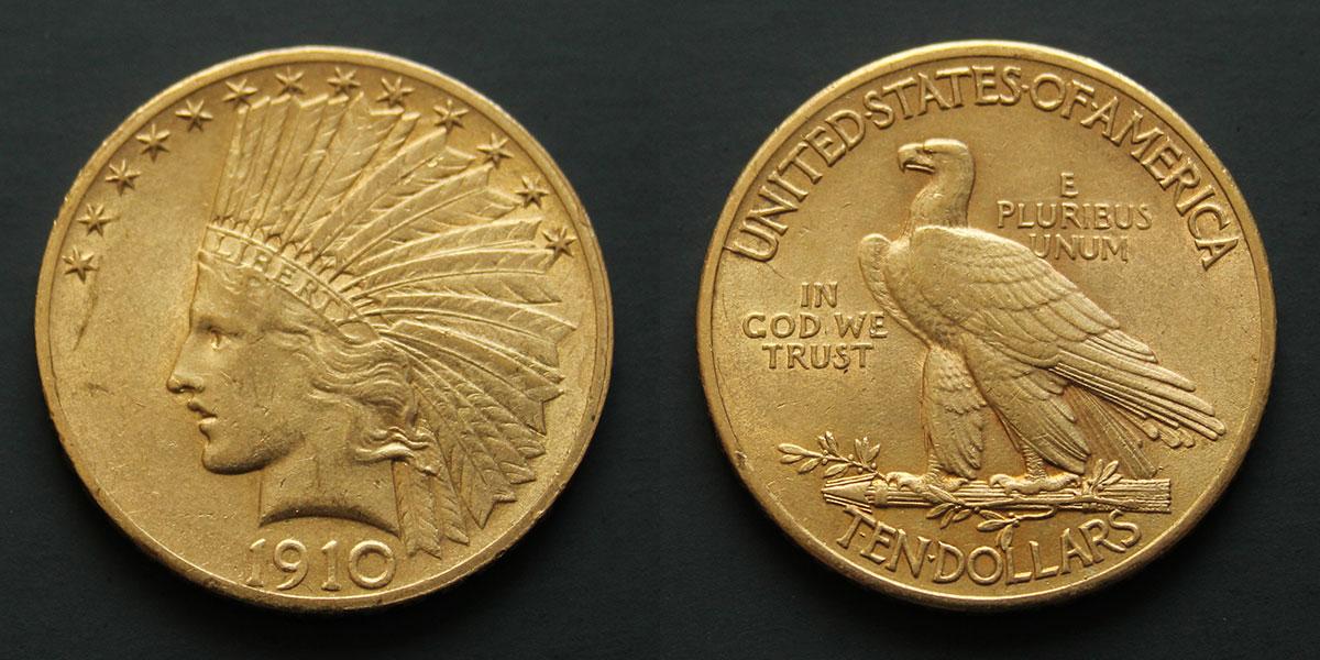 Photo d'une pièce d'or 10 dollars tête d'indien