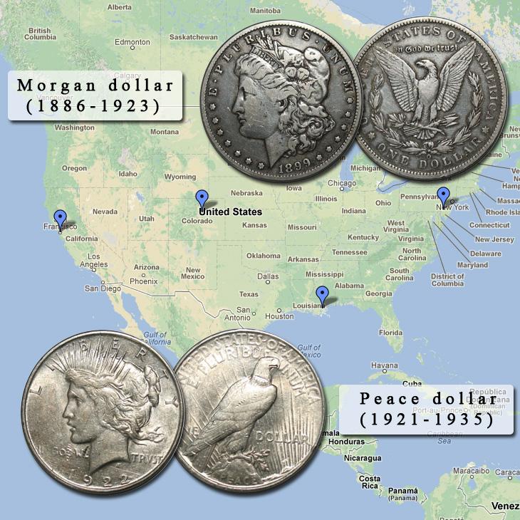 Vente de quelques pièces américaines de 1 dollar Morgan et Peace dollar