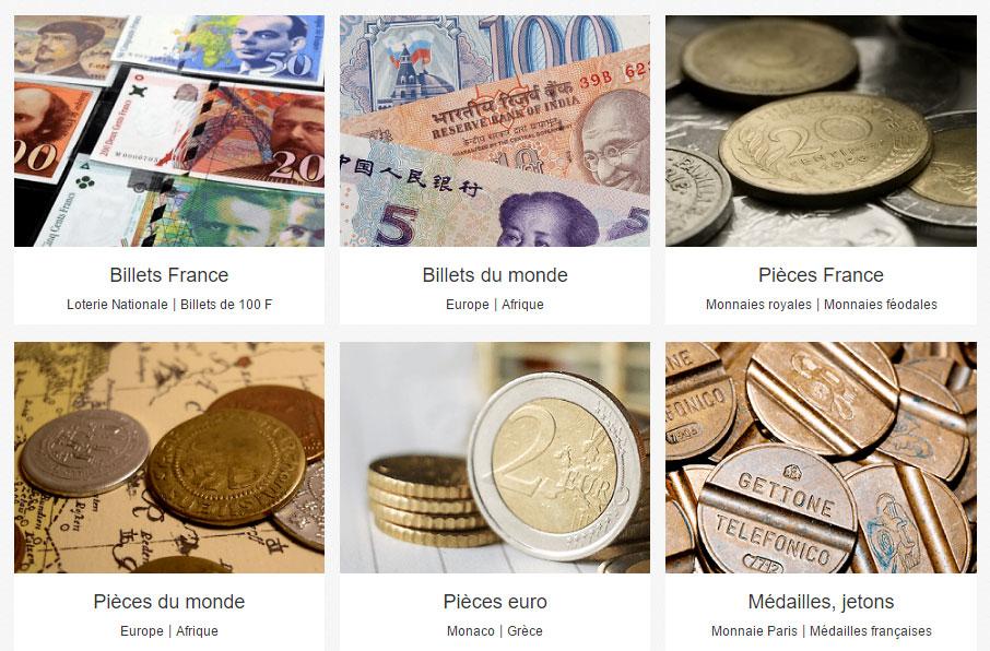 Capture d'écran de la section monnaies d'eBay France