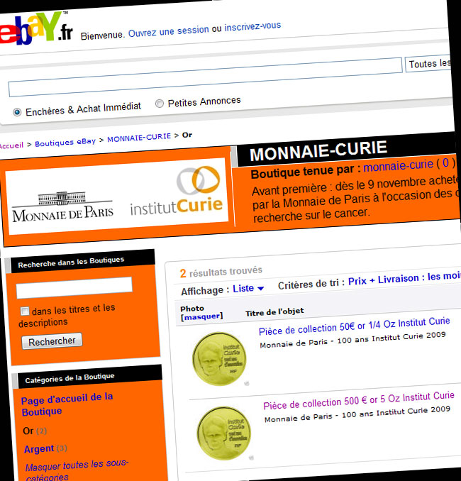 Boutique eBay de la Monnaie de Paris