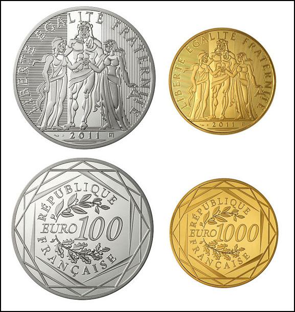 Photos des pièces de 100 euro argent et 1000 euro or