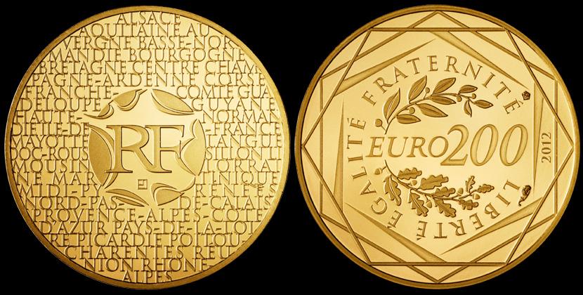 200 euro or des regions 2012