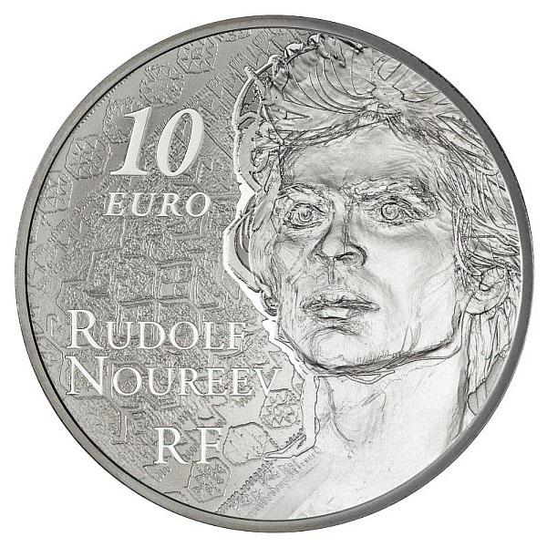Photos de la pièce de 10 euro argent Noureev : l'avers