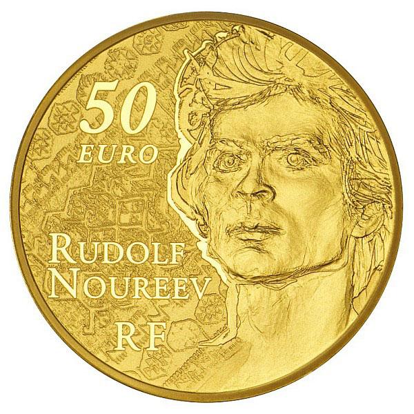 Portrait de Noureev sur la pièce de 50 euro or