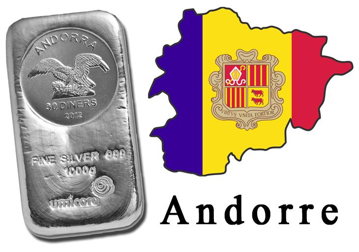 Andorre avant les nouveaux euro il y a les lingots monnaie en euro