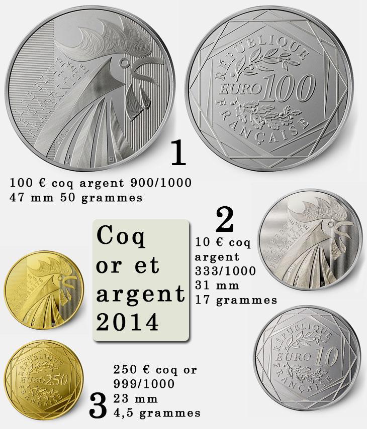 photo des pieces d'or et d'argent au coq 2014