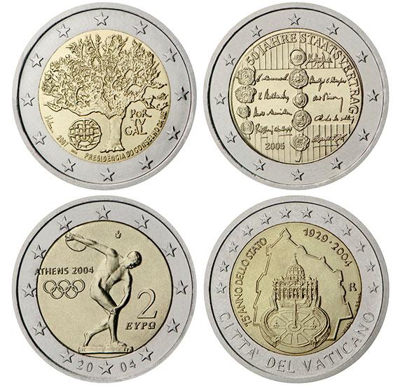 Exemples de pièces de 2 euro commémoratives