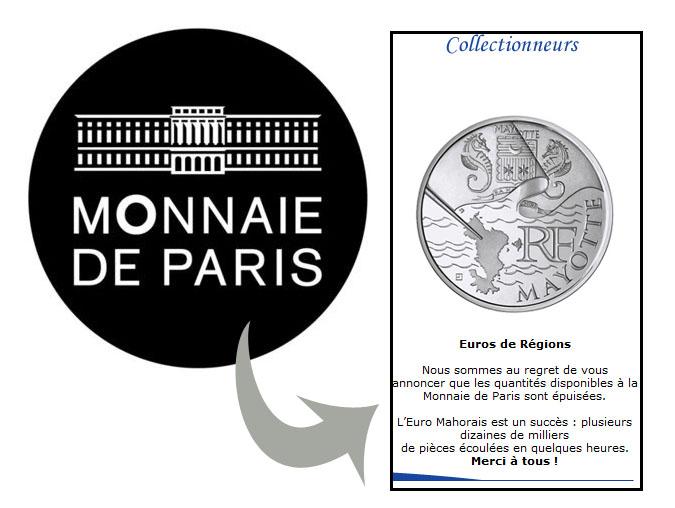 Très gros succès pour la pièce de 10 euros Mayotte sur le site Monnaie de Paris
