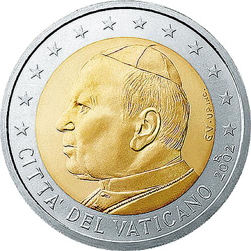 Exemple de pièce euro rare : la pièce de 2 euro Vatican 2002