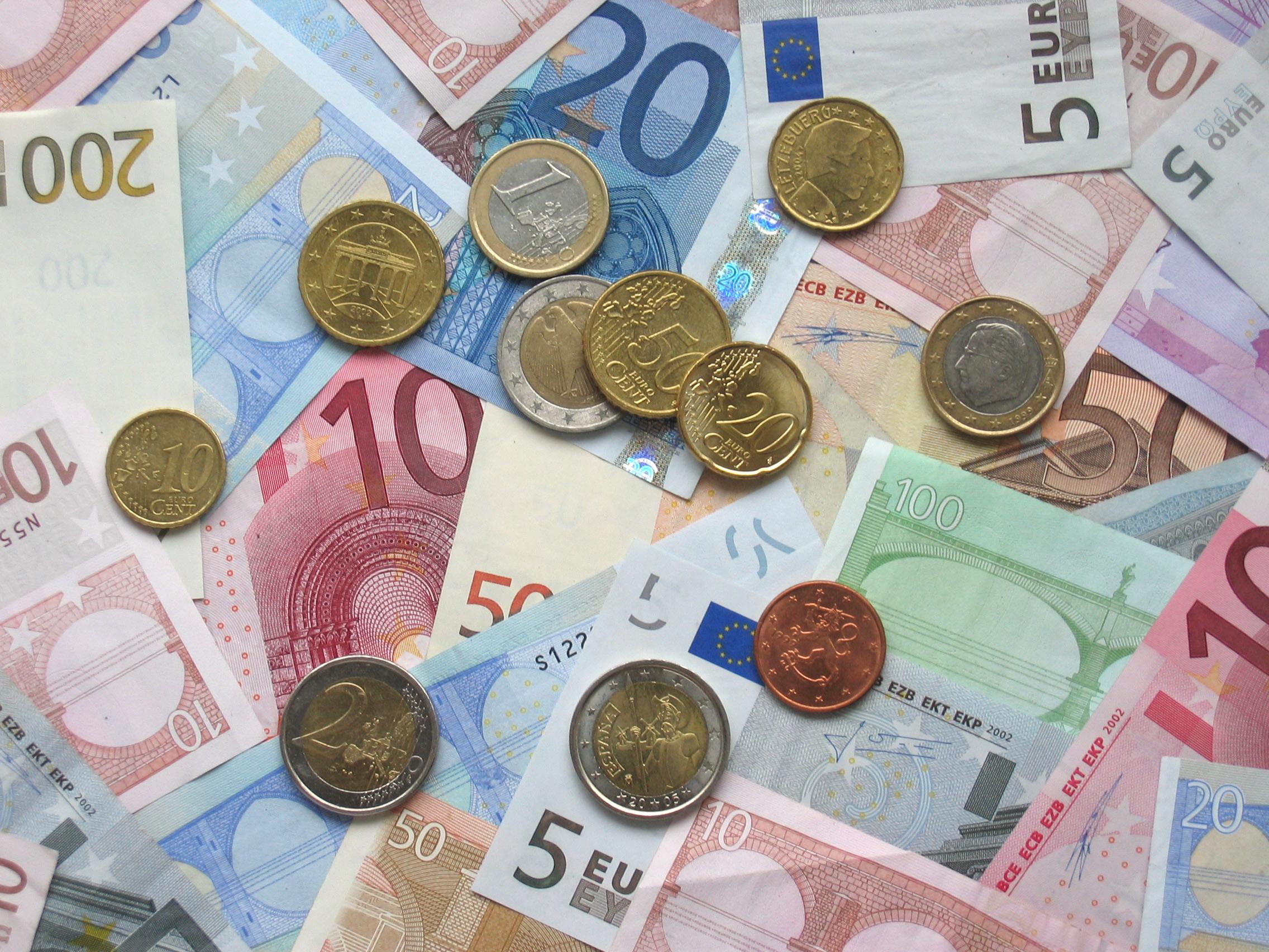 Billets et pièces en euro
