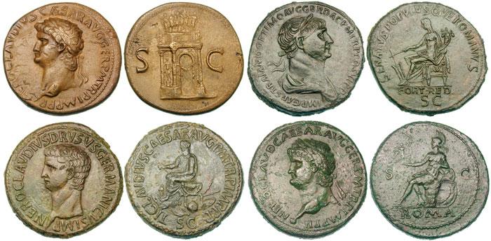 Découvrez 12 exemples de sesterces, une des monnaies romaines les plus connues